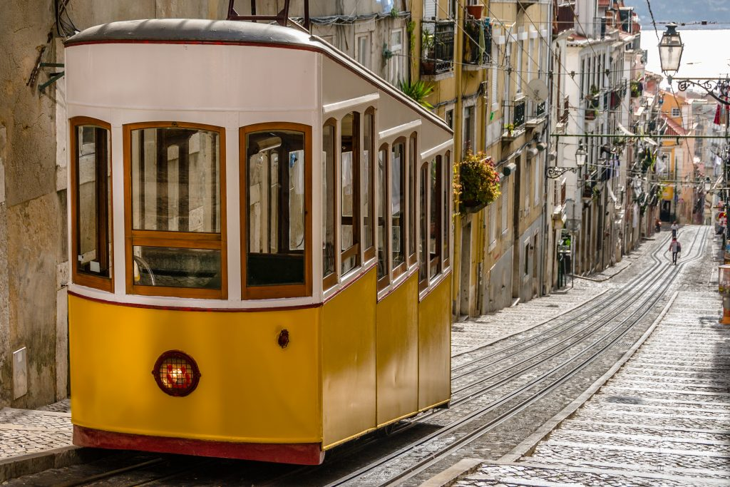 Funicular in Lisbon, Portugal (free guide to Portugal)